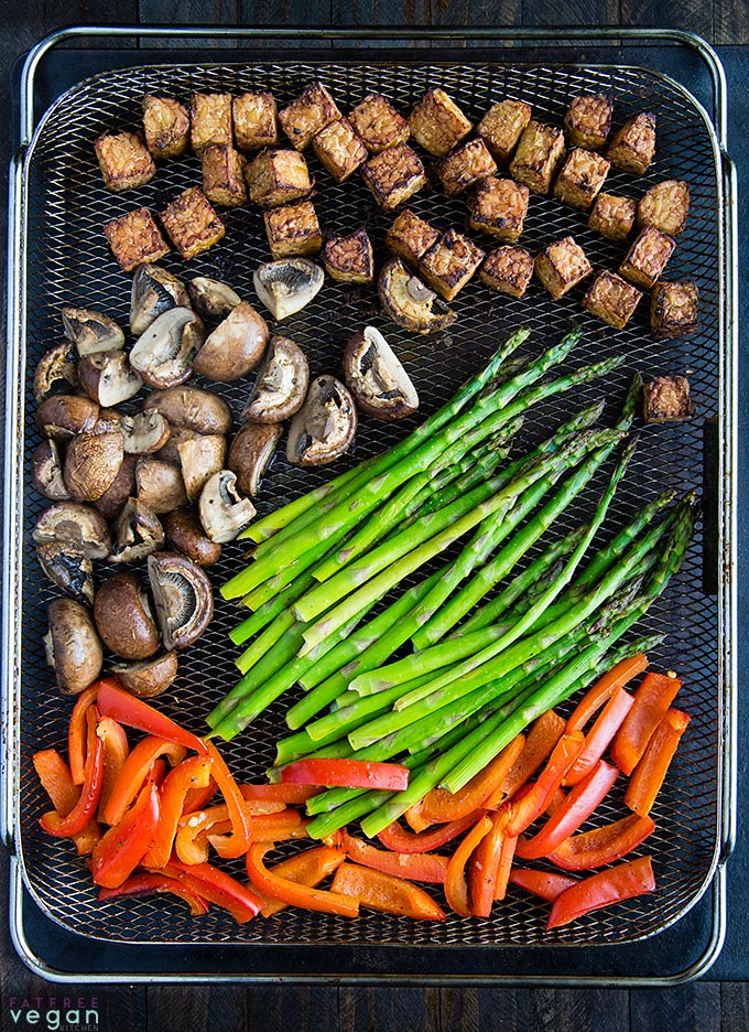 Lemon Tempeh Air Fryer Sheet Pan Dinner in the air fryer basket