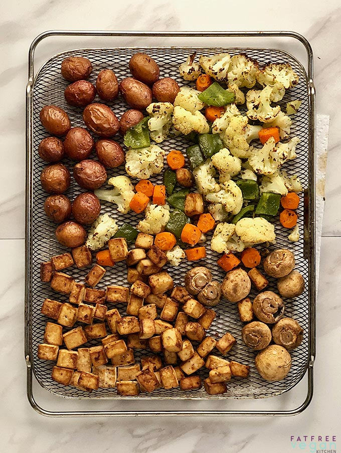 Air Fryer Sheet Pan Dinner with Tofu, Cauliflower and Potatoes