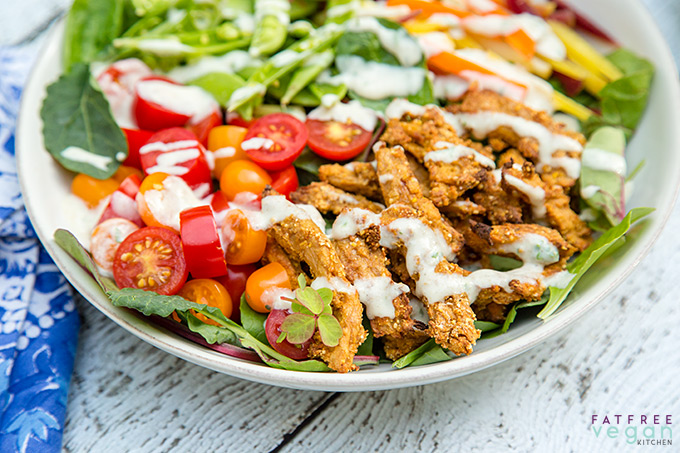 Vegan Spicy Fried Chicken on a Salad