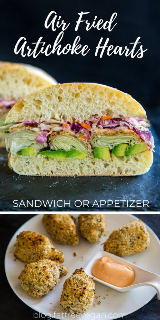 Air Fried Artichoke Hearts Sandwiches: Breaded in seasoned panko and air-fried until crispy, these low-fat artichoke hearts make a delicious sandwich with tangy vegan coleslaw and spicy mayo. Or serve as an appetizer! All recipes included. #vegan #airfryer