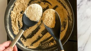 Browned flour compared to uncooked flour