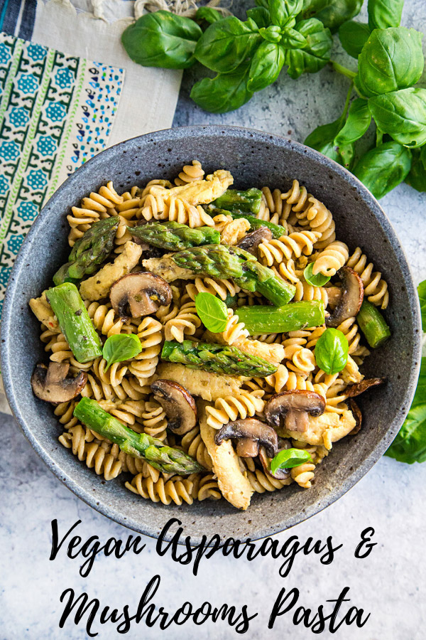 Vegan Asparagus and Mushroom Pasta: Sautéed asparagus, mushrooms, and garlic combine with pasta and a light fat-free sauce in this delicious plant-based meal. Optional soy curls or chickpeas add heartiness, making this a very filling vegan main dish.