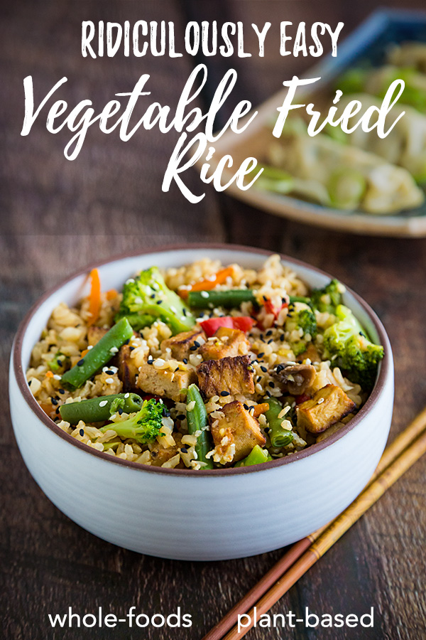 Ridiculously Easy Vegetable Fried Rice: Leftover brown rice becomes a healthy meal in minutes with this whole foods plant based recipe featuring frozen stir-fry vegetables and riced cauliflower. #vegan #wfpb