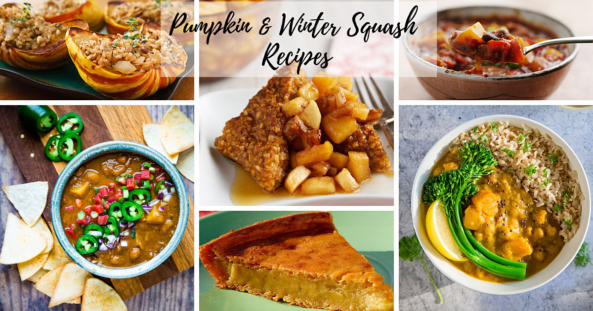 Vegan Pumpkin and Winter Squash Recipes: Here you'll find dozens of low-fat vegan recipes featuring pumpkin or winter squash. All are Whole Foods Plant-Based (WFPB) and contain no added oils.