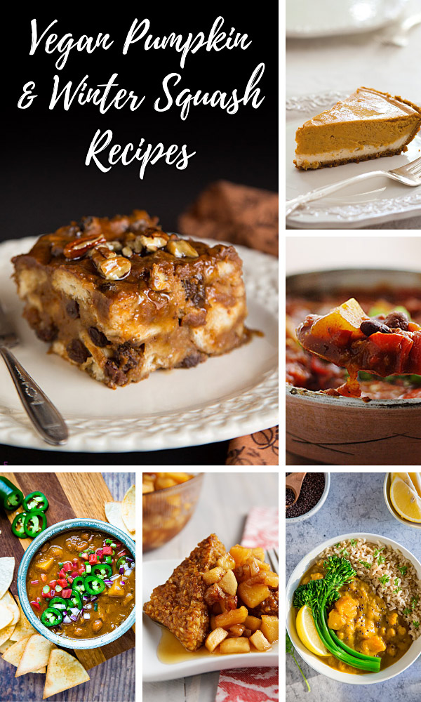 Vegan Pumpkin and Winter Squash Recipes: Here you'll find dozens of low-fat vegan recipes featuring pumpkin or winter squash. All are Whole Foods Plant-Based (WFPB) and contain no added oils. Readers' favorites include Vegan Pumpkin Bread Pudding, Mexican Pumpkin Soup, Double-Layer Pumpkin Cheesecake, Impossible Pumpkin Pie, and Butternut Squash Curry.