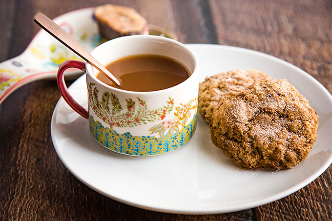 Vegan Snickerdoodles with a cup of Chai