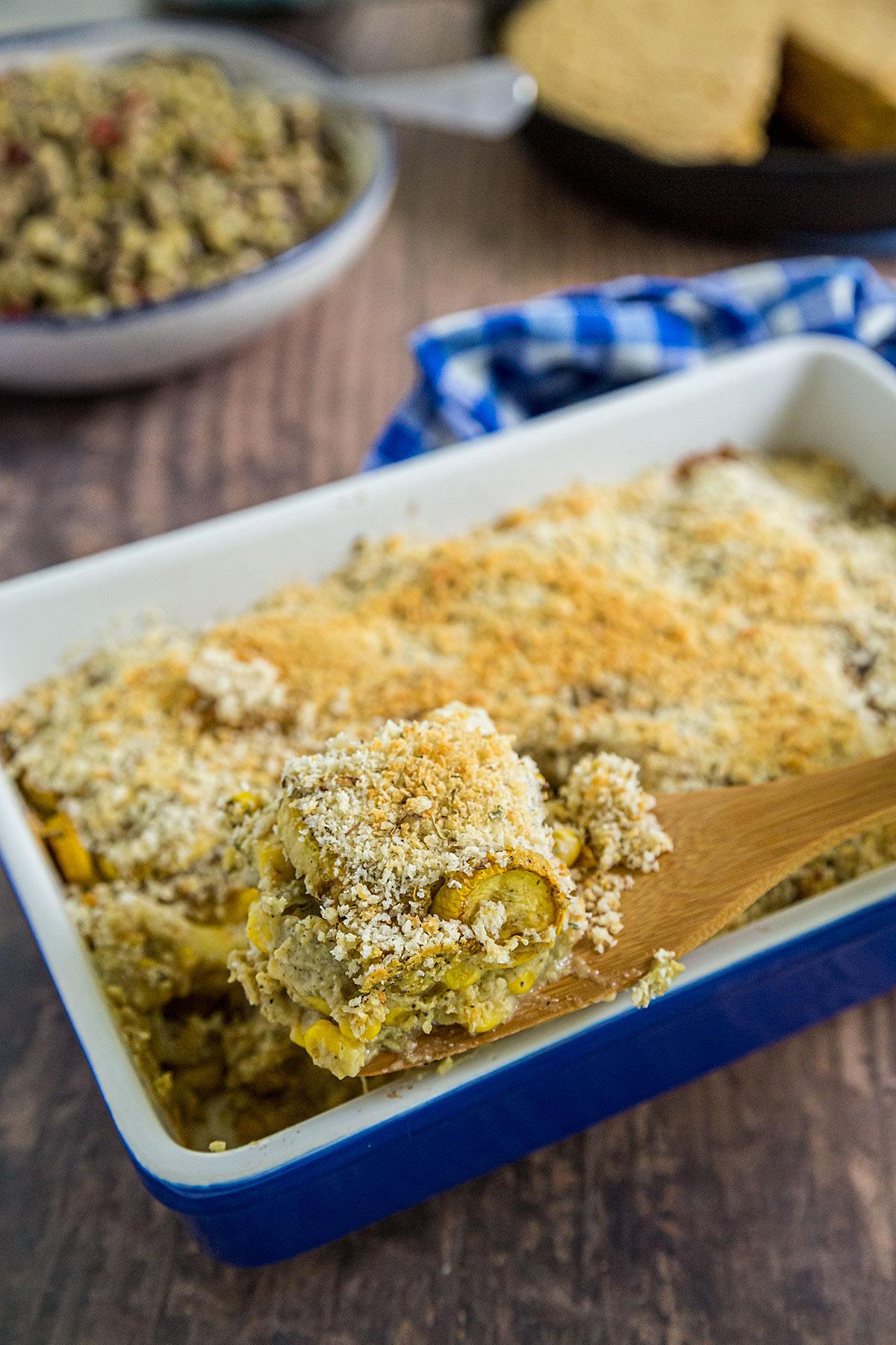 Vegan Yellow Squash and Corn Casserole in casserole dish