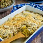 Vegan Squash and Corn Casserole in casserole dish