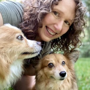 Susan Voisin with Pomeranian rescue dogs